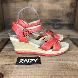 L.L. Bean Strappy Open Toe Red Leather Wedge